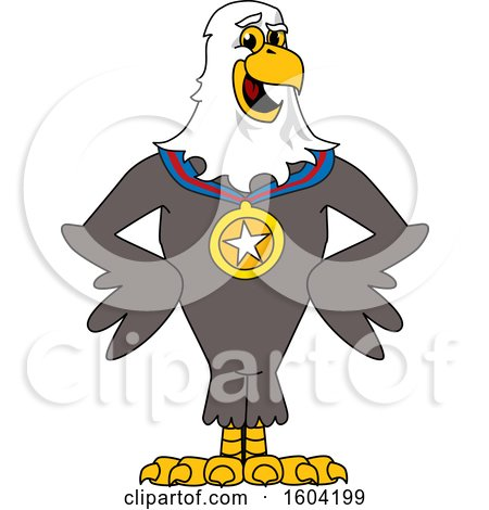 Clipart of a Bald Eagle School Mascot Character Wearing a Sports Medal - Royalty Free Vector Illustration by Toons4Biz