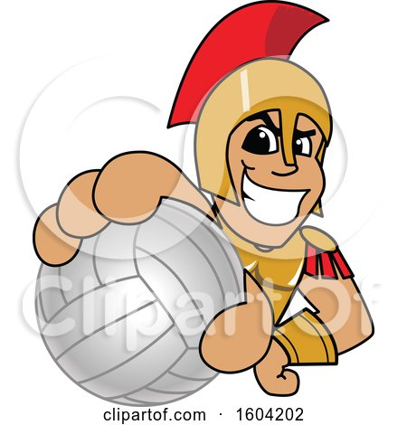 Clipart of a Spartan or Trojan Warrior School Mascot Character Grabbing a Volleyball - Royalty Free Vector Illustration by Toons4Biz