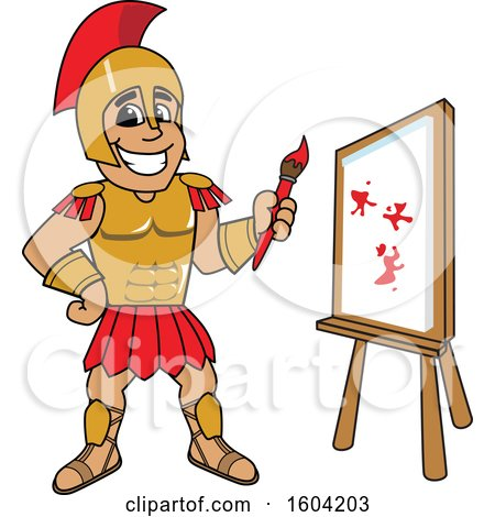 Clipart of a Spartan or Trojan Warrior School Mascot Character Painting a Canvas - Royalty Free Vector Illustration by Toons4Biz