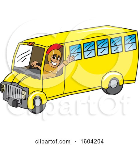 Clipart of a Spartan or Trojan Warrior School Mascot Character Driving a School Bus - Royalty Free Vector Illustration by Toons4Biz