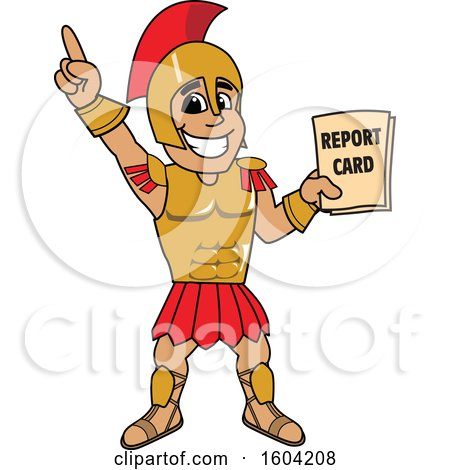 Clipart of a Spartan or Trojan Warrior School Mascot Character Holding a Report Card - Royalty Free Vector Illustration by Toons4Biz