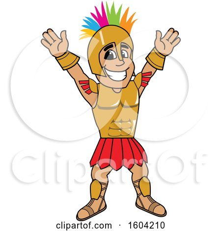 Clipart of a Spartan or Trojan Warrior School Mascot Character with a Mohawk - Royalty Free Vector Illustration by Toons4Biz