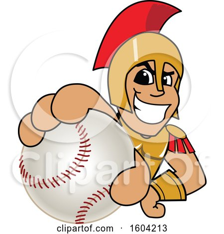 Clipart of a Spartan or Trojan Warrior School Mascot Character Grabbing a Baseball - Royalty Free Vector Illustration by Toons4Biz