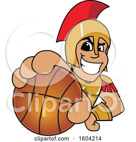 Clipart of a Spartan or Trojan Warrior School Mascot Character Grabbing a Basketball - Royalty Free Vector Illustration by Toons4Biz
