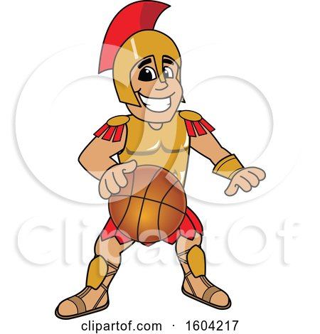 Clipart of a Spartan or Trojan Warrior School Mascot Character Dribbling a Basketball - Royalty Free Vector Illustration by Toons4Biz
