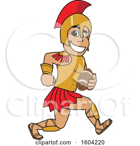 Clipart of a Spartan or Trojan Warrior School Mascot Character Running with a Football - Royalty Free Vector Illustration by Toons4Biz