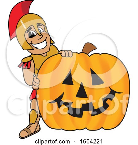 Clipart of a Spartan or Trojan Warrior School Mascot Character with a Halloween Pumpkin - Royalty Free Vector Illustration by Toons4Biz