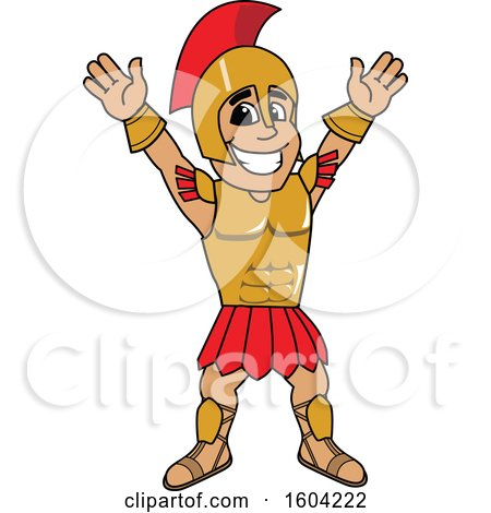 Clipart of a Spartan or Trojan Warrior School Mascot Character Cheering or Welcoming - Royalty Free Vector Illustration by Toons4Biz