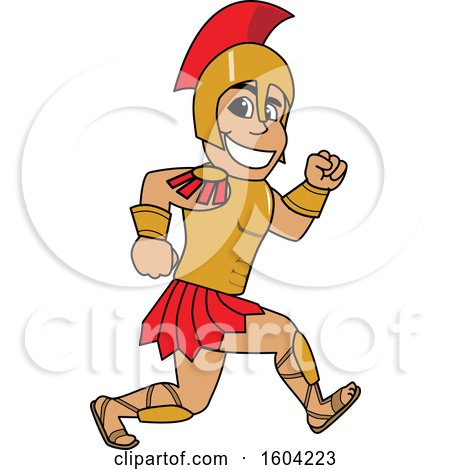 Clipart of a Spartan or Trojan Warrior School Mascot Character Running - Royalty Free Vector Illustration by Toons4Biz