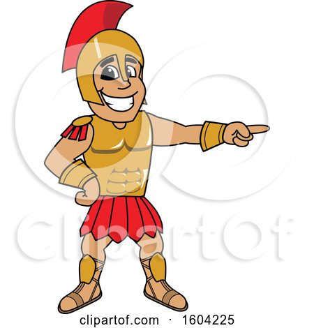Clipart of a Spartan or Trojan Warrior School Mascot Character Pointing - Royalty Free Vector Illustration by Toons4Biz