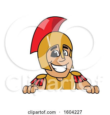 Clipart of a Spartan or Trojan Warrior School Mascot Character over a Sign - Royalty Free Vector Illustration by Toons4Biz