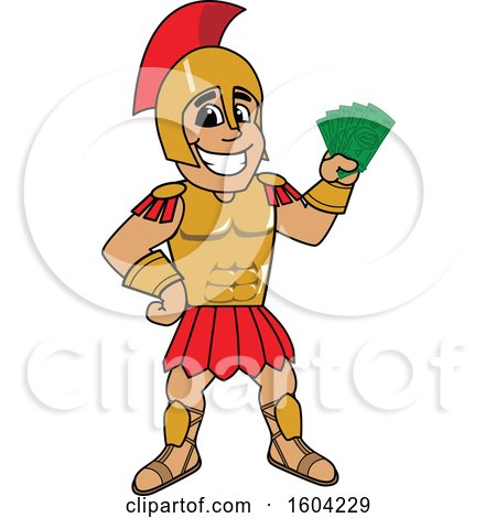 Clipart of a Spartan or Trojan Warrior School Mascot Character Holding Cash Money - Royalty Free Vector Illustration by Toons4Biz
