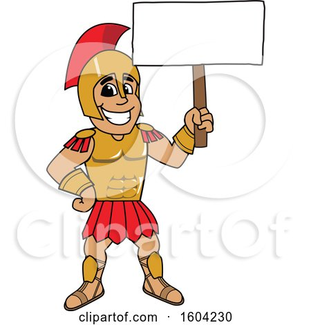 Clipart of a Spartan or Trojan Warrior School Mascot Character Holding a Blank Sign - Royalty Free Vector Illustration by Toons4Biz