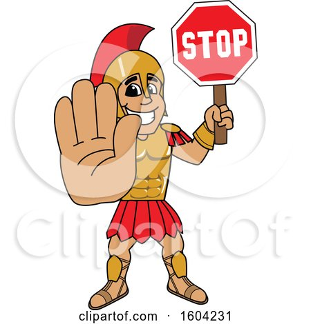 Clipart of a Spartan or Trojan Warrior School Mascot Character Holding a Stop Sign - Royalty Free Vector Illustration by Toons4Biz