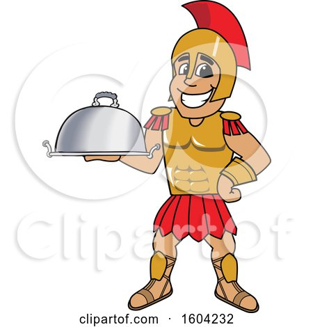 Clipart of a Spartan or Trojan Warrior School Mascot Character Holding a Platter - Royalty Free Vector Illustration by Toons4Biz