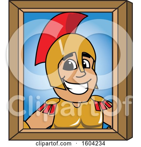 Clipart of a Spartan or Trojan Warrior School Mascot Character Portrait - Royalty Free Vector Illustration by Toons4Biz