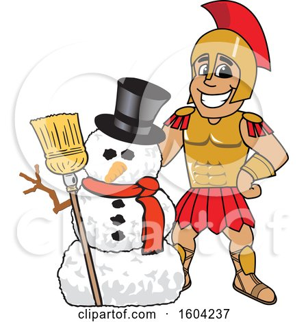 Clipart of a Spartan or Trojan Warrior School Mascot Character with a Christmas Snowman - Royalty Free Vector Illustration by Toons4Biz
