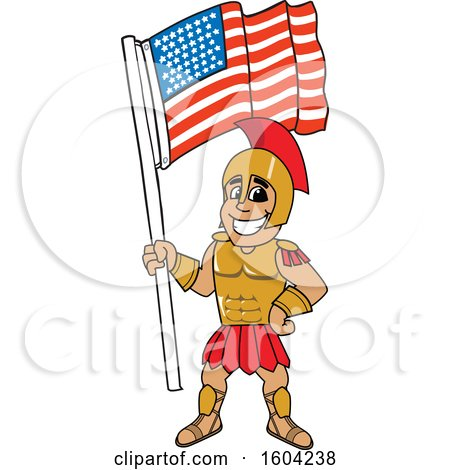 Clipart of a Spartan or Trojan Warrior School Mascot Character Holding an American Flag - Royalty Free Vector Illustration by Toons4Biz