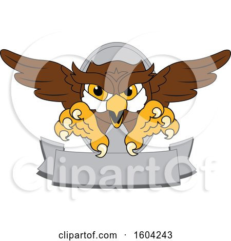 Clipart of a Brown and White Owl School Mascot Character Swooping over a Banner - Royalty Free Vector Illustration by Toons4Biz