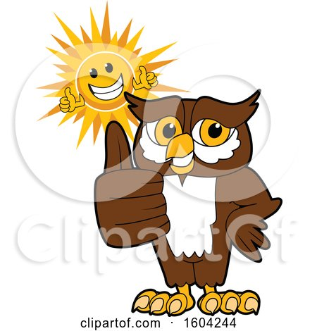 Clipart of a Brown and White Owl School Mascot Character and Happy Sun Giving Thumbs up - Royalty Free Vector Illustration by Toons4Biz
