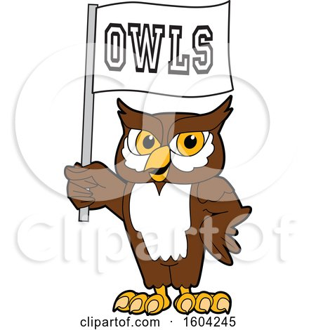 Clipart of a Brown and White Owl School Mascot Character Holding a Flag - Royalty Free Vector Illustration by Toons4Biz