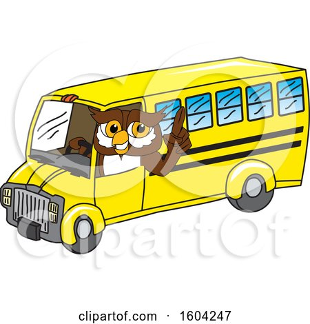 Clipart of a Brown and White Owl School Mascot Character Driving a School Bus - Royalty Free Vector Illustration by Toons4Biz