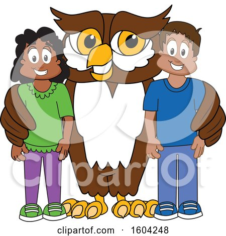 Clipart of a Brown and White Owl School Mascot Character with Students - Royalty Free Vector Illustration by Toons4Biz