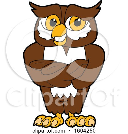Clipart of a Brown and White Owl School Mascot Character with Folded Arms - Royalty Free Vector Illustration by Toons4Biz