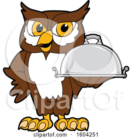 Clipart of a Brown and White Owl School Mascot Character Holding a Platter - Royalty Free Vector Illustration by Toons4Biz