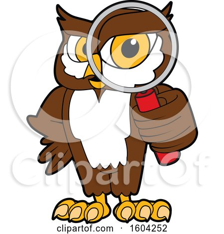 Clipart of a Brown and White Owl School Mascot Character Looking Through a Magnifying Glass - Royalty Free Vector Illustration by Toons4Biz