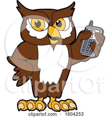 Clipart of a Brown and White Owl School Mascot Character Holding a Cell Phone - Royalty Free Vector Illustration by Toons4Biz