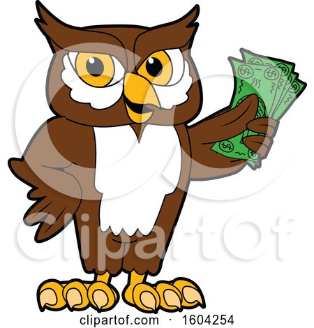 Clipart of a Brown and White Owl School Mascot Character Holding Cash Money - Royalty Free Vector Illustration by Toons4Biz