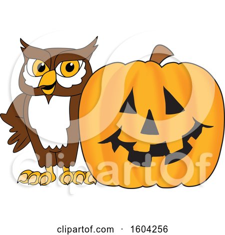 Clipart of a Brown and White Owl School Mascot Character with a Halloween Pumpkin - Royalty Free Vector Illustration by Toons4Biz