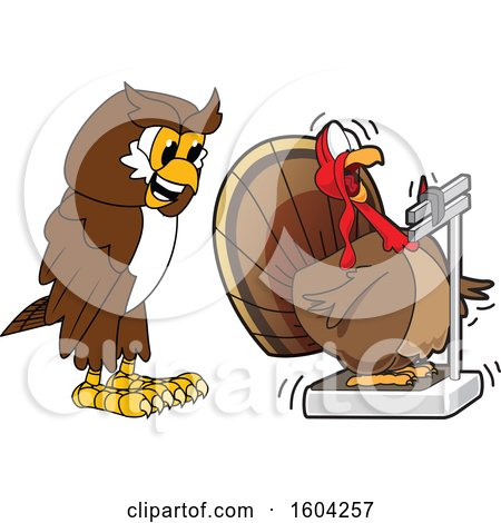 Clipart of a Brown and White Owl School Mascot Character Watching a Turkey Bird Weigh Itself - Royalty Free Vector Illustration by Toons4Biz