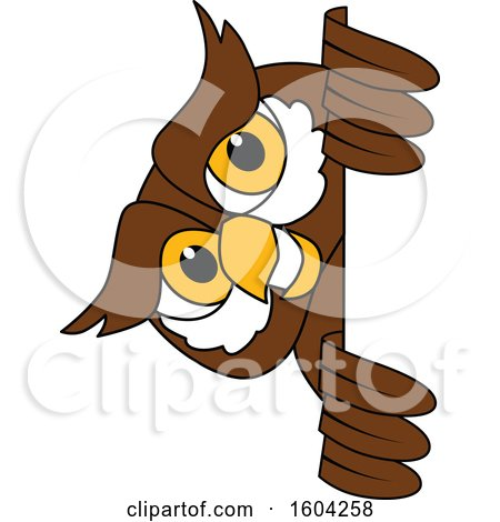 Clipart of a Brown and White Owl School Mascot Character Looking Around a Sign - Royalty Free Vector Illustration by Toons4Biz