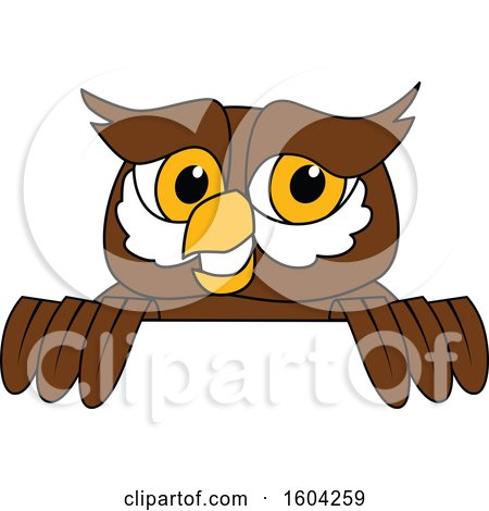 Clipart of a Brown and White Owl School Mascot Character over a Sign - Royalty Free Vector Illustration by Toons4Biz