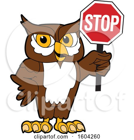 Clipart of a Brown and White Owl School Mascot Character Holding a Stop Sign - Royalty Free Vector Illustration by Toons4Biz