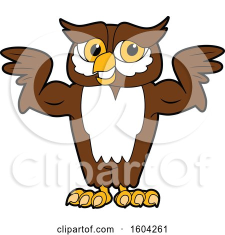 Clipart of a Brown and White Owl School Mascot Character Flexing His Muscles - Royalty Free Vector Illustration by Toons4Biz