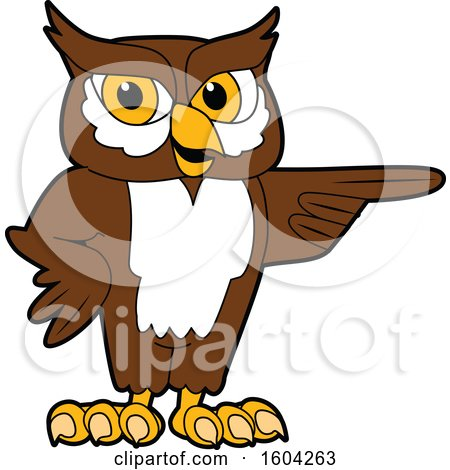 Clipart of a Brown and White Owl School Mascot Character Pointing - Royalty Free Vector Illustration by Toons4Biz