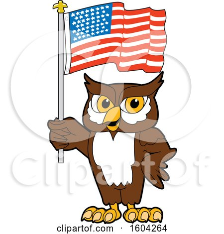 Clipart of a Brown and White Owl School Mascot Character Holding an American Flag - Royalty Free Vector Illustration by Toons4Biz