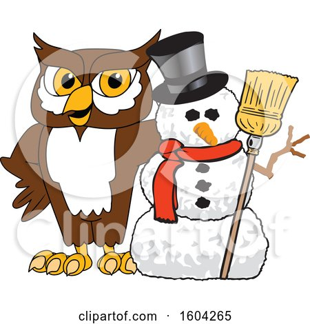 Clipart of a Brown and White Owl School Mascot Character with a Christmas Snowman - Royalty Free Vector Illustration by Toons4Biz
