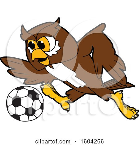 Clipart of a Brown and White Owl School Mascot Character Playing Soccer - Royalty Free Vector Illustration by Toons4Biz