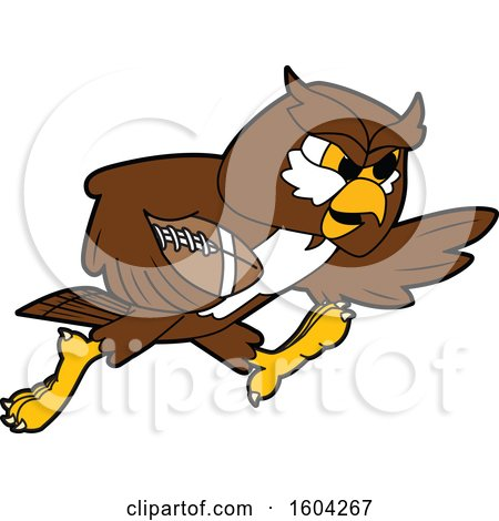 Clipart of a Brown and White Owl School Mascot Character Playing Football - Royalty Free Vector Illustration by Toons4Biz