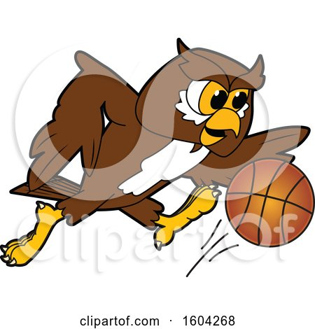 Clipart of a Brown and White Owl School Mascot Character Playing Basketball - Royalty Free Vector Illustration by Toons4Biz