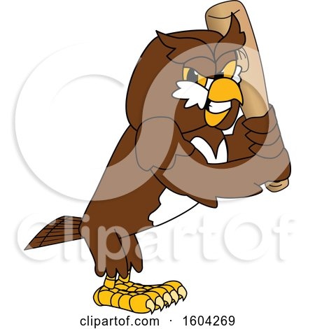 Clipart of a Brown and White Owl School Mascot Character Holding a Baseball Bat - Royalty Free Vector Illustration by Toons4Biz