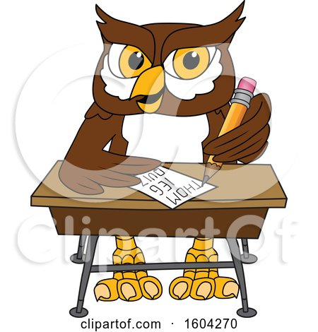 Clipart of a Brown and White Owl School Mascot Character Writing at a Desk - Royalty Free Vector Illustration by Toons4Biz