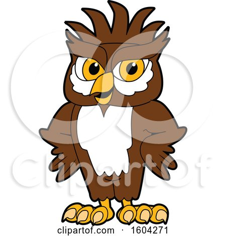 Clipart of a Brown and White Owl School Mascot Character with a Mohawk and Hands on His Hips - Royalty Free Vector Illustration by Toons4Biz