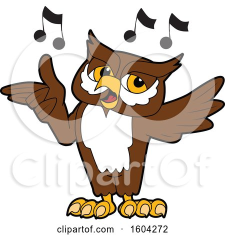 Clipart of a Brown and White Owl School Mascot Character Singing - Royalty Free Vector Illustration by Toons4Biz