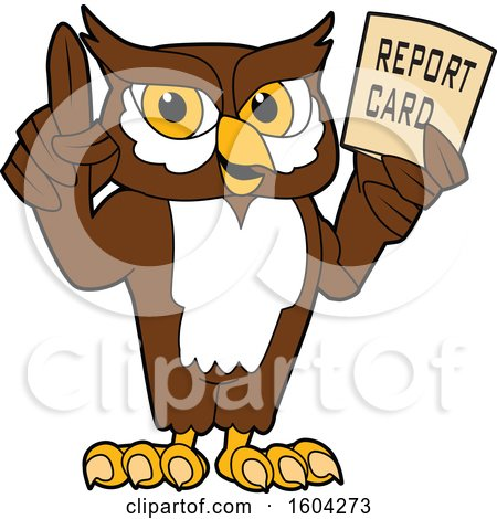 Clipart of a Brown and White Owl School Mascot Character Holding a Report Card - Royalty Free Vector Illustration by Toons4Biz