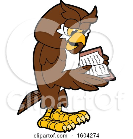 Clipart of a Brown and White Owl School Mascot Character Reading a Book - Royalty Free Vector Illustration by Toons4Biz